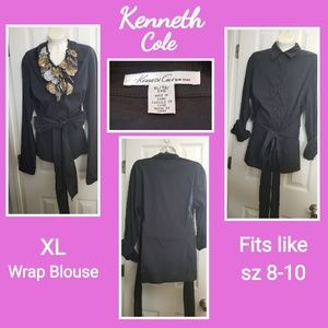 Kenneth Cole Stretch Wrap Blouse